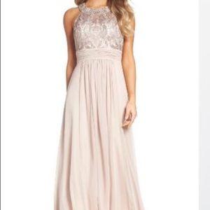 Eliza J Tan Colored Prom Dress